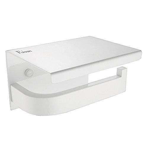 Fuloon WC Toilette Halter Papierhalter Toilettenpapierhalter Edelstahl Rollenhalter Papierrollenhalter mit Abdeckung Klopapierhalter für Bad Badezimmer Weiß