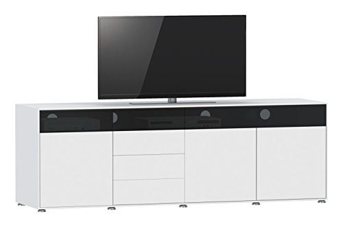 Jahnke Meuble TV TL 620.3, Bois, Blanc, 45 x 200 x 61,5 cm