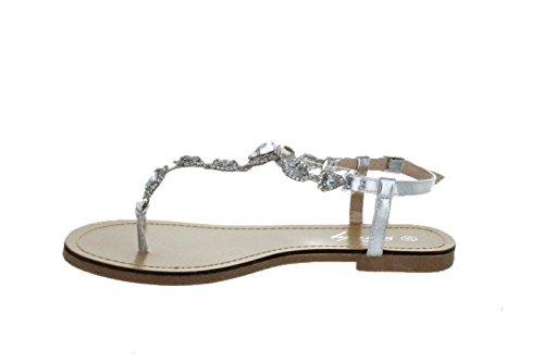 Sinly - Sandale Plate, Ornée De Strass - Femme Argenté