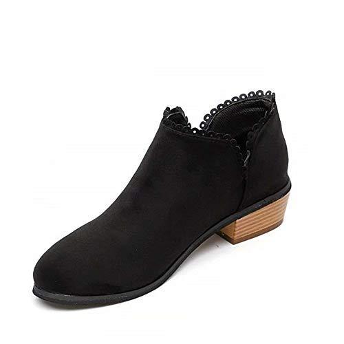 Rosa Wildleder-boot (Hafiot Chelsea Boots Damen Ankle Boots Stiefeletten Kurzschaft Blockabsatz Leder Wildleder mit Absatz Kurze 3cm Stiefel Winter Beige Rosa Blau Grau 35-43 BK43)