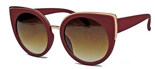 Große Damen Sonnenbrille im Cat Eye Stil runde Gläser RC95 (Berry)