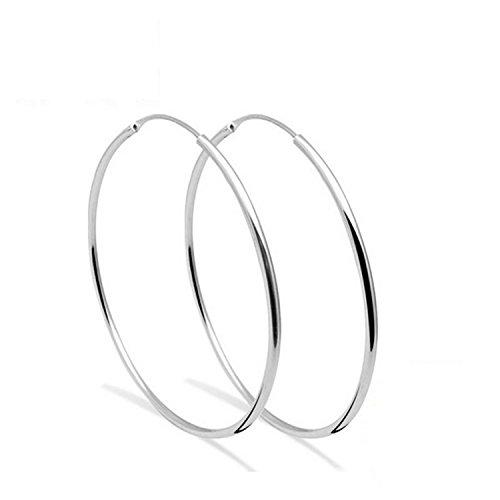 Creolen Silber 925 Polierte Runde Kreis Endless Damen Ohrringe Hypoallergen Ohrhänger Ohrschmuck Geschenke - Durchmesser:50mm
