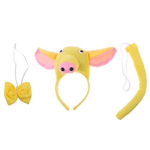 Kit Kostüm Schwein Tier - Blesiya 3tlg. Schwein Piggy Tierkostüm Zubehör Set - Gelb, 3pcs/set