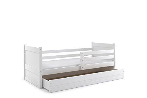 *Kinderbett RICO für ein Kind 200x90cm Farbe: Weiβ, mit Matratze und Lattenrost (WEIβ)*