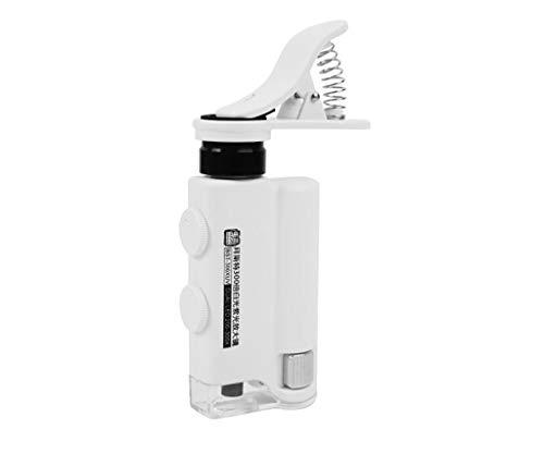Handyclip Mikroskopische Lupe, 200X-300X Einstellbare Vergrößerung Optische Linse 2 LED-Lichter, Geeignet für Diamantschmuck-Druckauslässe Stempel Bernstein Porzellan