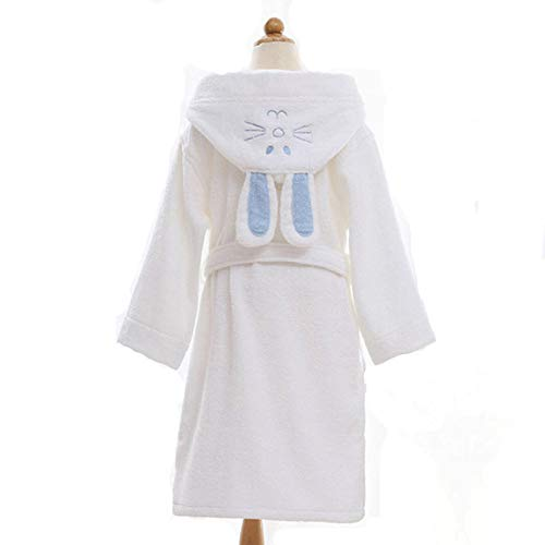 GQDP Kapuzenhandtücher Kinderbademäntel Kinderbademantel Baumwolle Niedlicher Bademantel Robe Kleid Kinder Pyjama Gürtel White M
