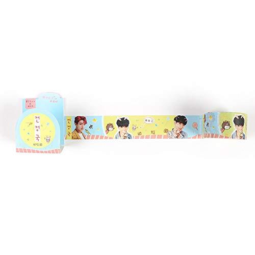 Yovvin BTS Papier Washi Klebeband, KPOP Bangtan Jungen Jungkook, Jimin, V, Suga, Jin, J-Hope, Rap Monster Dekobänder Aufkleber Masking Tape für Scrapbooking(Style 04) -