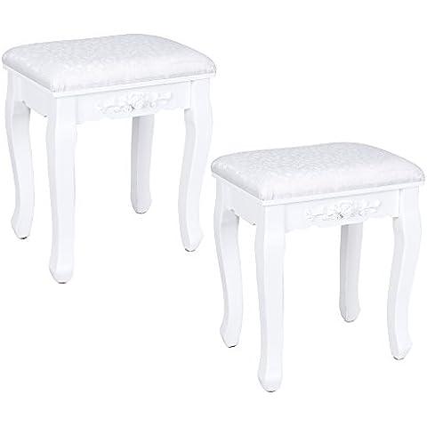Songmics 2 unidades Taburete tapizado para tocador banco de madera color blanco RDS452W