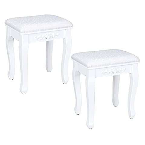 Songmics graceful stool white vanity baroque style upholstered chair with floral decoration for bedroom Dressing Table and piano set 2 Pcs RDS452W