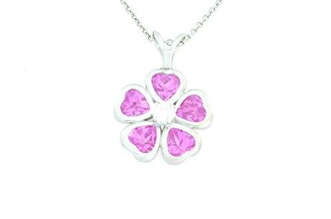 2.5 Ct Created Pink Sapphire Heart Bezel Pendant .925 Sterling Silver Rhodium Finish