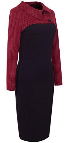 HOMEYEE Damen Vintage Langarm Elegant Kleid Business Party Cocktailkleid Knielanges Abendkleid B238 Rot