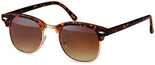 Feinzwirn Sonnenbrille im 60er Browline-Style mit markantem Halbrahmen wayfarer retro vintage, Braun-leo-verlauf, Einheitsgröße