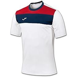 Joma 100224.200 - Camiseta de equipación de manga corta para hombre, color blanco / azul marino, talla L