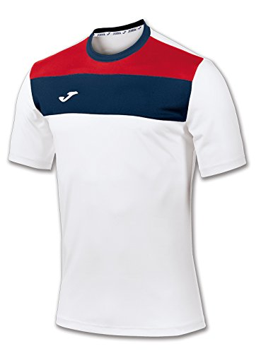 Joma 100224.200 - Camiseta de equipación de manga corta para hombre, color blanco / azul marino, talla M
