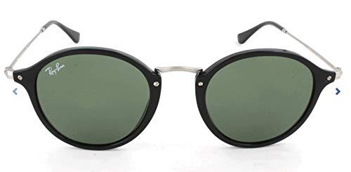 Ray Ban Herren Sonnenbrille Round Fleck Gestell: schwarz,Gläser: grün 901), Medium (Herstellergröße: 52)