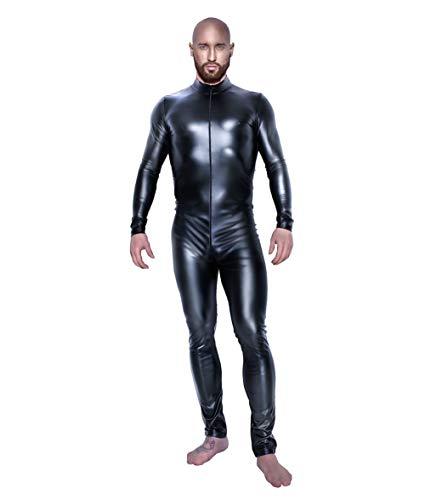 Mens Schwarzes Lackleder Sexy Langarm Zentai Spandex Catsuit Bodysuit Männlich Erotik Kostüm Party Clubwear (größe : XXL)
