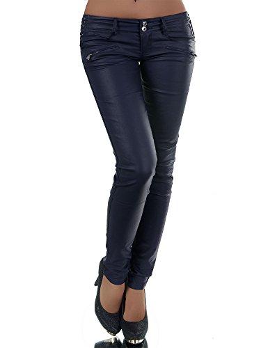Leder Bootcut Jeans (N445 Damen Jeans Hose Lederimitat Damenjeans Lederlook Röhrenjeans Leder-Optik, Farben:Dunkelblau;Größen:40 (L))