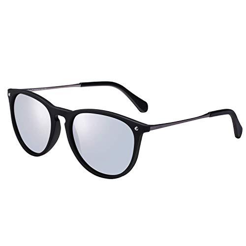 Carfia Vintage Polarisierte Sonnenbrille für Damen Herren UV400 Schutz Ultraleicht Rahmen (Damen/Rahmen: Schwarz; Linsen: Silbrig)