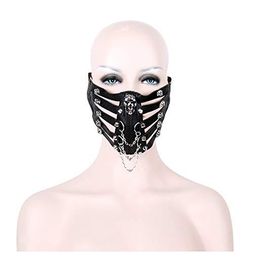 Peggy Gu Schädel Niet Stil Motorrad Anti Staub Maske Half Face Gothic Steampunk Biker Männer Cosplay Wind Cool Punk Halloween Maskerade Maske