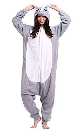 DELEY Unisex Erwachsene Onesie Pyjamas Tier Anime Cosplay Halloween Karneval Kostüm Einteilige Nachtwäsche Loungewear Graues Nashorn Größe M