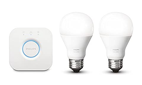 Philips Hue White Personal Wireless Lighting LED Starter Kit, 2 x 9.5 W E27 Hue White Bulbs, 1 x Hue Bridge 2.0, Apple Home Kit Enabled, Works with