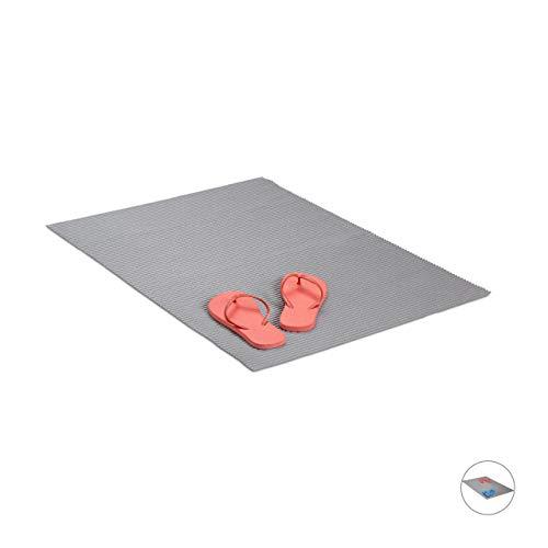 Relaxdays Weichschaummatte, wasserabweisende Duschmatte, Antirutschmatte fürs Bad, zuschneidbar, BT: 90x60 cm, grau