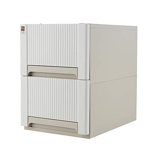 Doubleblack mobile cassettiere plastica armadio con ruote mobiletto cassetto per armadi ufficio salvaspazio portaoggetti 2 cassetti 44 x 48 x 32 centimetro bianco