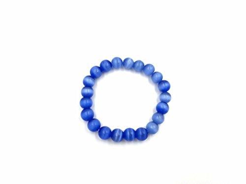 Skyllc 10mm simulierte Katze Auge Stein Glas Perlen Armband Charmante Wasser Blauen Glas Armband für Frauen