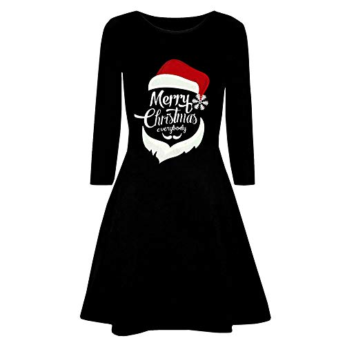 OverDose Damen Frohe Weihnachten Frauen Printed Long Sleeve Abend Prom Party Tanz Cosplay Schlank Kostüm Swing Kleid Rock