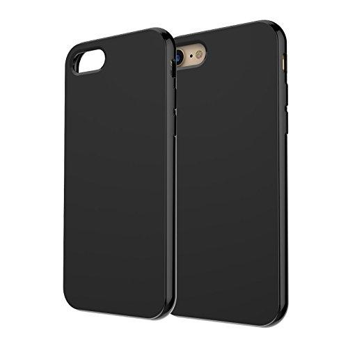 iPhone 8 coque, iPhone 7 coque -iHarbort ultra Slim protecteur iPhone 7/ 8 coque etui case cover avec le matériel TPU doux (avec l'absorption de choc) avec protecteur d'écran, Transparent Noir de jais