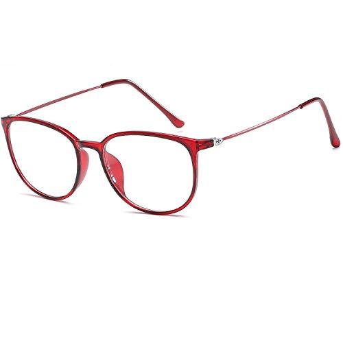 LANOMI Retro Nerdbrille Runde Brille Brillen Metallbügel Hornbrille Damen Herren Brillenetui (Rot)