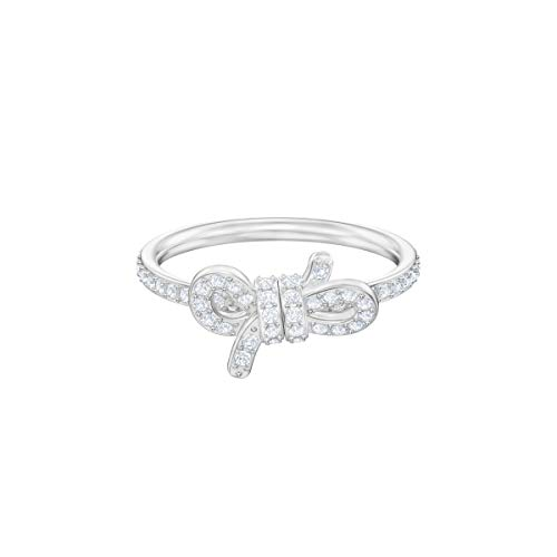 Swarovski Anillo Lifelong Small Bow, Blanco, baño de rodio