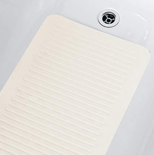 Spirella Duschmatte Badematte Badewannenmatte Badewanneneinlage antibakteriell Rutschfest mit Saugnäpfen - Weiß - ca. 35 x 75 cm Naturkautschuk