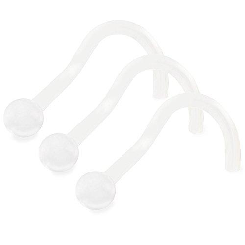 3 Stück nasenstecker transparent Flexibler Bioflex retainer 0.8mm Nasenpiercing durchsichtig Spirale nasen piercing nase stecker für damen männer AARI