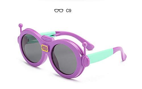 Wang-RX Karikatur-Sonnenbrille-Kinder polarisierte Kinderfaltbare Brillen-flexible Sicherheits-Rahmen-Schatten für Jungen-Mädchen