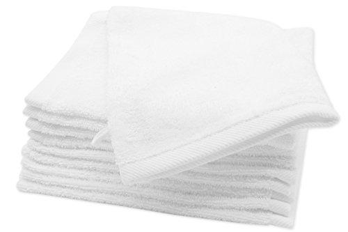 Zollner 10er Set Waschlappen Waschhandschuh aus Baumwolle, weiß (weitere verfügbar), ca. 16x21 cm