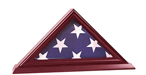 g Display Case, Shadow Box (Not for Burial Funeral Flag), Solid Wood, Cherry Finish ABC ()