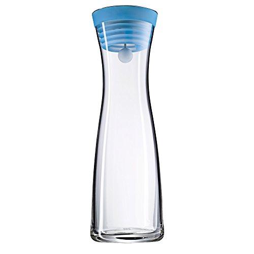 WMF Basic Wasserkaraffe, 1,0l, Höhe 29cm, Glaskaraffe Karaffe CloseUp-Verschluss, blau, Glas Cromargan Edelstahl rostfrei