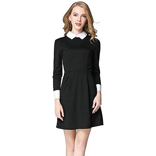 WFRTY WinterSchule Kleider Mode Frauen Büro Schwarz Kleid Mit Weißem KragenBeiläufigeDünne Vintage XL Winter Weißen Kleid