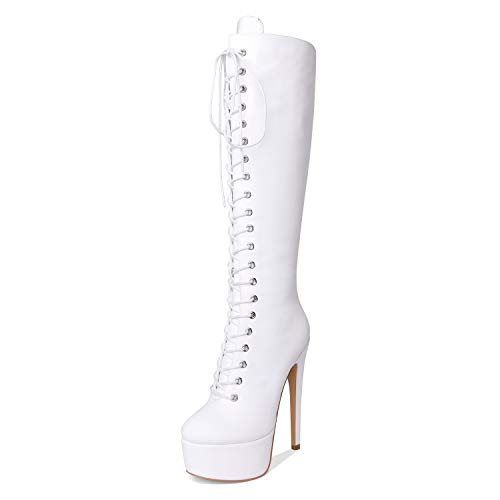 Women's Sexy Platform Front Lace-Up High Heel Stiletto Stretch Over The Knee High Boot Wei? EU38 - Heel Knee High