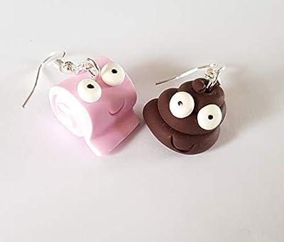 """boucles d oreille rigolo:""""le gros caca et son papier toilette souriant"""" duo fimo"""