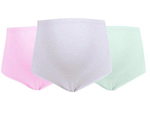 FEOYA Damen Umstandsmode Slip Schwangerschaft Baumwolle Unterwäsche Einstellbare Hohe Taillen Unterhose Bauch Unterstützung Höschen Schlüpfer Panty 3er Pack - XL (Brief Hipster Floral)