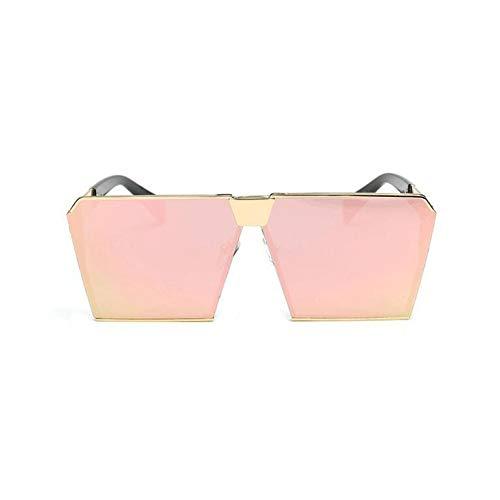 Taiyangcheng Platz Hip Hop Mode Sonnenbrillen Männer Frauen Spiegel Sonnenbrille Dame Flache Übergroße Größe Brillen,Gold Cherry Pink