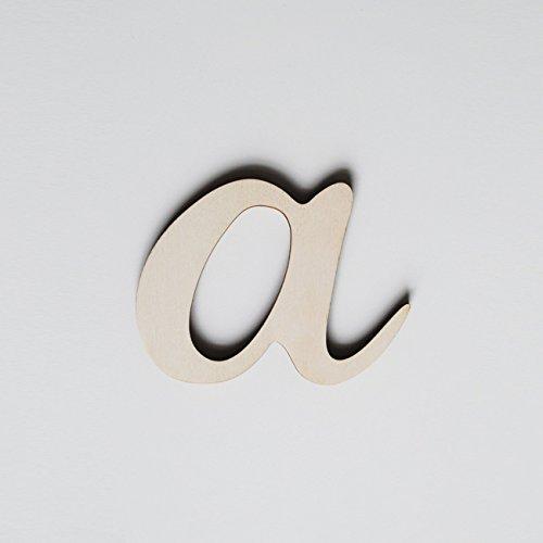 ONEOFF TOYS A Corsivo Minuscolo bellissima lettera in legno di pioppo naturale tagliata al laser H MEDIA: 10 cm