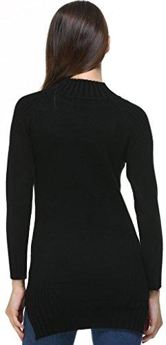 Vogueearth Fashion Hot Donna's Ladies Lungo Manica Twist Knit Jumper Maglieria Sweater Pullover Top Nero