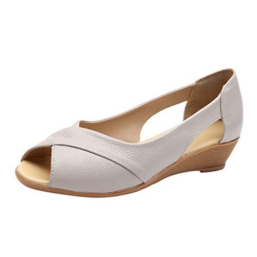LuckyGirls Chic Sandalias de Mujer Verano 2020 Tacon Bajo Elegantes Zapatos de Maternidad Vestir Casual...