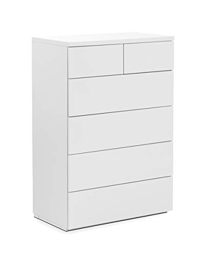 Julian Bowen Monaco 4+2 DRW Chest-White Gloss, MDF, one size Best Price and Cheapest