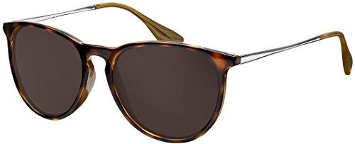Sonnenbrille La Optica UV 400 Schutz Unisex Damen Herren Vintage Rund - Horn Leopardenmuster Glänzend (Gläser: Braun)