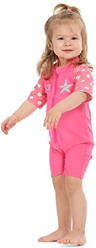 Baby Mädchen Badeanzug (Juicy Bumbles UV Baby Badeanzug Mädchen UV Schutz - Einteiliger UV Schutzkleidung Baby - Kurzarm Sonnenanzug UPF50+ Seestern 1-2 Jahre)