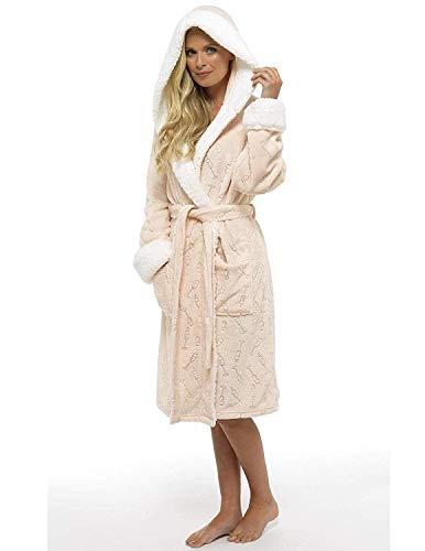 CityComfort Damen Morgenmantel Shaggy Soft Fleece Frauen Kleider Robe Bademantel Loungewear für sie (M, Prosecco Foliendruck)